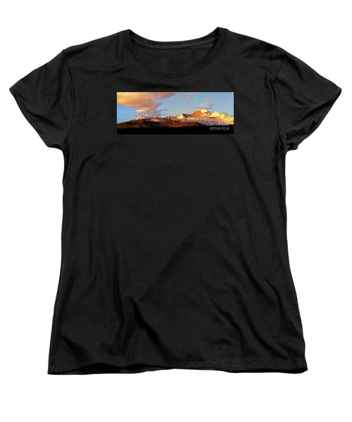 Panorama View Of Longs Peak At Sunrise Women's T-Shirt (Standard Cut) by Ronda Kimbrow