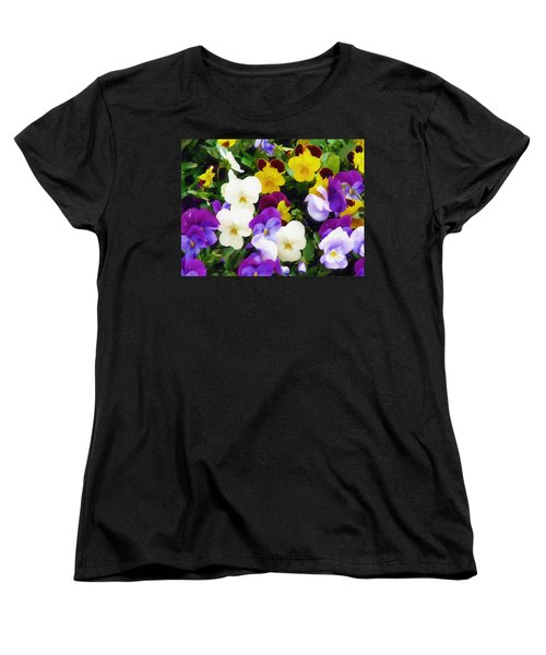 Women's T-Shirt (Standard Cut) featuring the photograph Pansies by Sandy MacGowan
