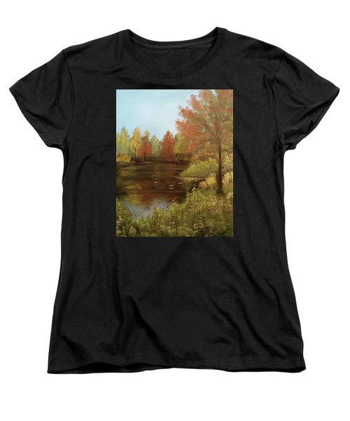 Women's T-Shirt (Standard Cut) featuring the mixed media Park In Autumn by Angela Stout