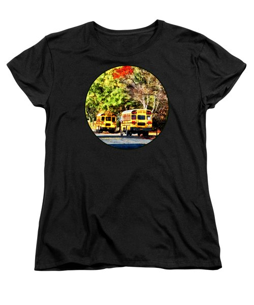 Parked School Buses Women's T-Shirt (Standard Cut) by Susan Savad