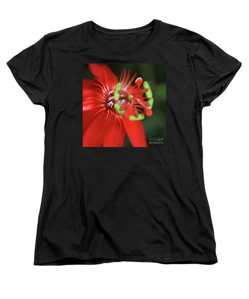 Passiflora Vitifolia Scarlet Red Passion Flower Women's T-Shirt (Standard Cut) by Sharon Mau