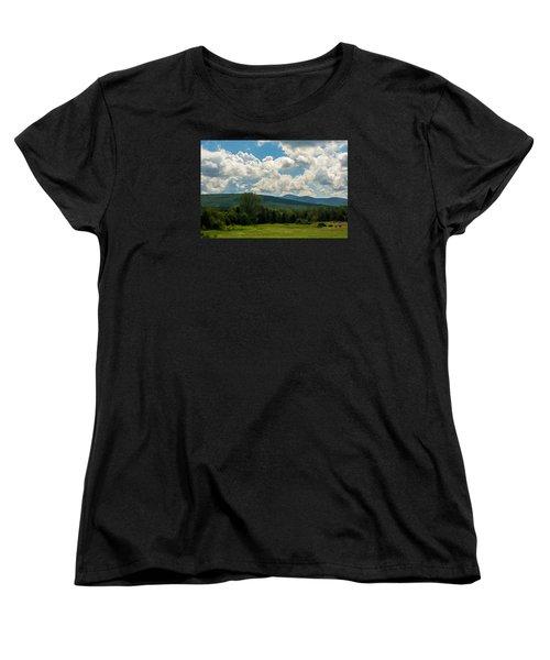 Pastoral Landscape With Mountains Women's T-Shirt (Standard Cut) by Nancy De Flon