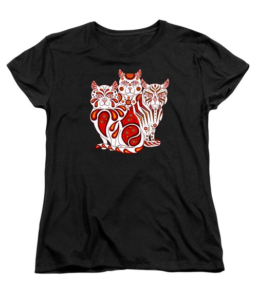 Patches, Stripes, And Bobbles In Red Women's T-Shirt (Standard Cut) by Ruanna Sion Shadd a'Dann'l Yoder