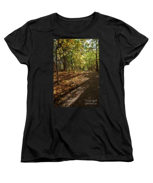 Women's T-Shirt (Standard Cut) featuring the photograph Pathways In Fall by Iris Greenwell