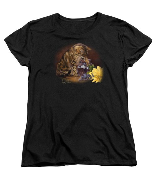 Paw In The Vase Women's T-Shirt (Standard Cut) by Lucie Bilodeau