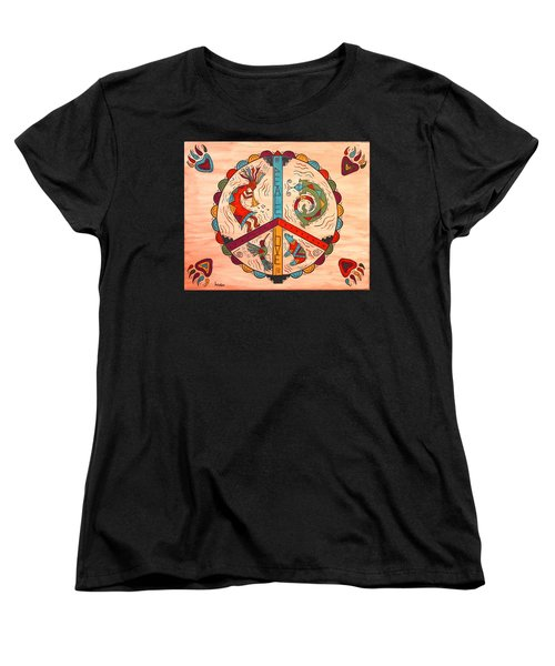 Women's T-Shirt (Standard Cut) featuring the painting Peace Love And Harmony by Susie WEBER