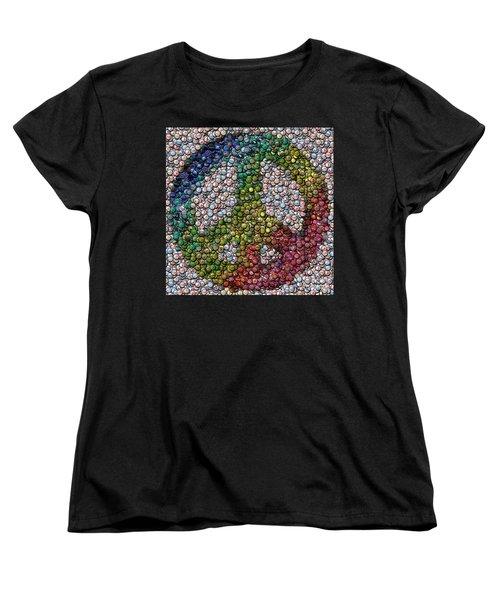Women's T-Shirt (Standard Cut) featuring the digital art Peace Sign Bottle Cap Mosaic by Paul Van Scott