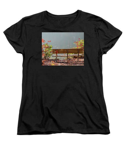 Women's T-Shirt (Standard Cut) featuring the photograph Peaceful Bench by George Randy Bass