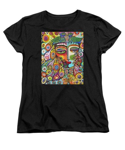 Peacock Emerald Lovebirds Goddess Women's T-Shirt (Standard Cut) by Sandra Silberzweig