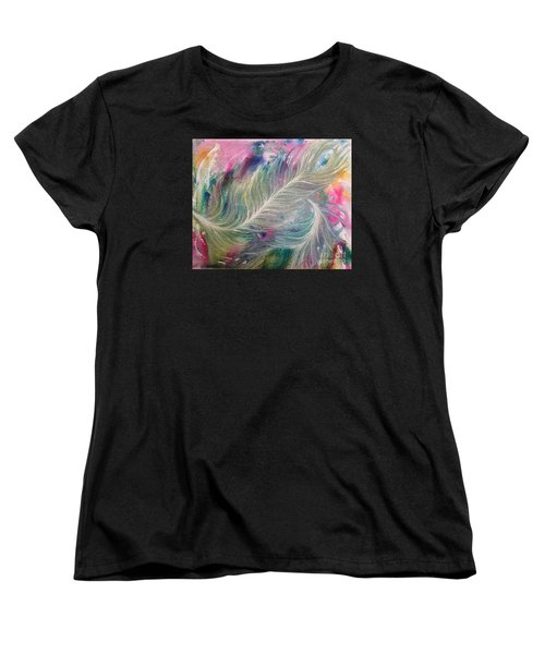 Peacock Feathers Pastel Women's T-Shirt (Standard Cut) by Denise Hoag