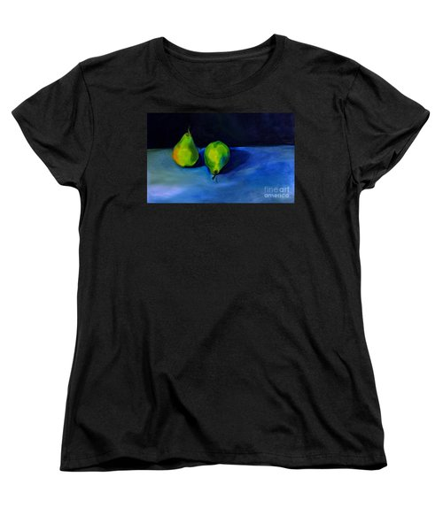 Women's T-Shirt (Standard Cut) featuring the painting Pears Space Between by Daun Soden-Greene