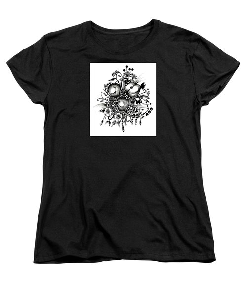 Women's T-Shirt (Standard Cut) featuring the drawing Pen And Ink Drawing Apples Black And White Art by Saribelle Rodriguez
