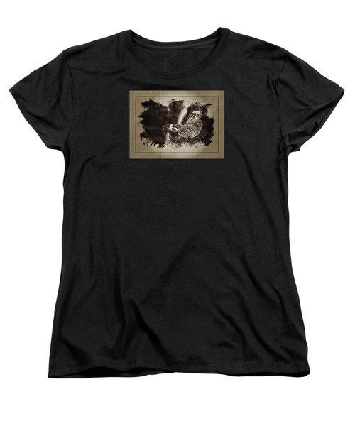 Pen And Ink Fall Butterfly Women's T-Shirt (Standard Cut) by Karen McKenzie McAdoo