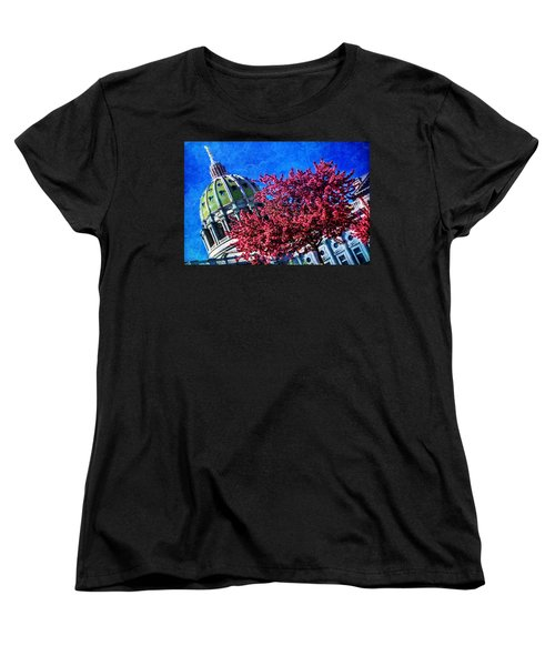 Women's T-Shirt (Standard Cut) featuring the photograph Pennsylvania State Capitol Dome In Bloom by Shelley Neff