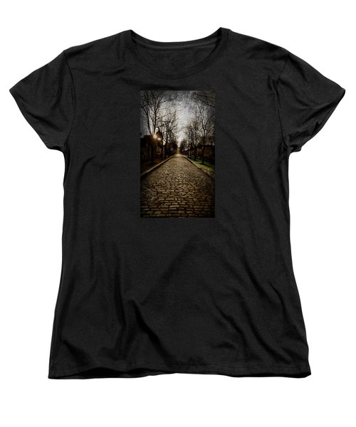 Women's T-Shirt (Standard Cut) featuring the photograph Pere Lachaise Cemetery Road 2 by Katie Wing Vigil