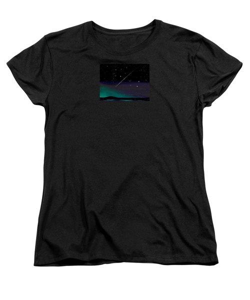 Women's T-Shirt (Standard Cut) featuring the digital art Perseid Meteor Shower  by Jean Pacheco Ravinski