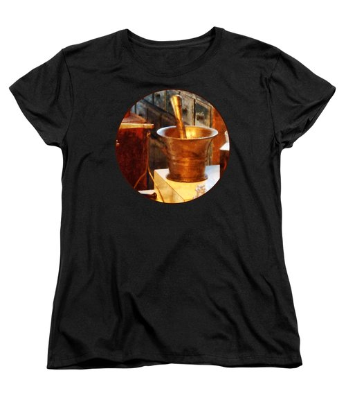 Women's T-Shirt (Standard Cut) featuring the photograph Pharmacist - Brass Mortar And Pestle by Susan Savad