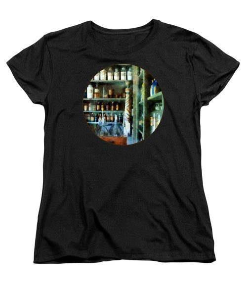 Women's T-Shirt (Standard Cut) featuring the photograph Pharmacy - Back Room Of Drug Store by Susan Savad