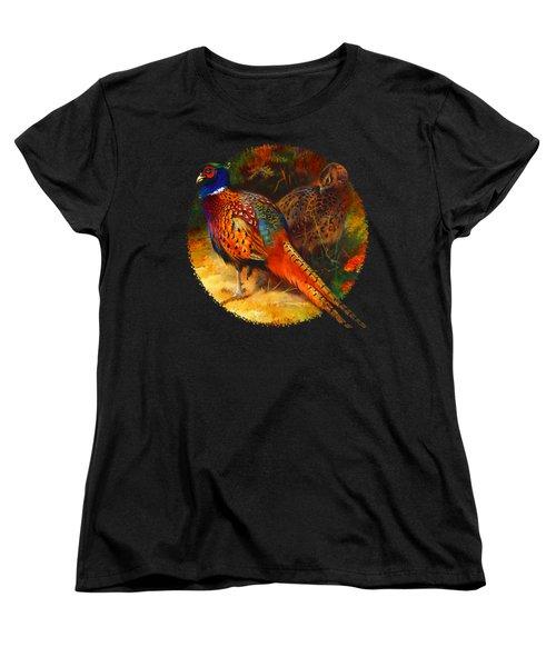 Pheasant Pair Women's T-Shirt (Standard Cut) by Raven SiJohn
