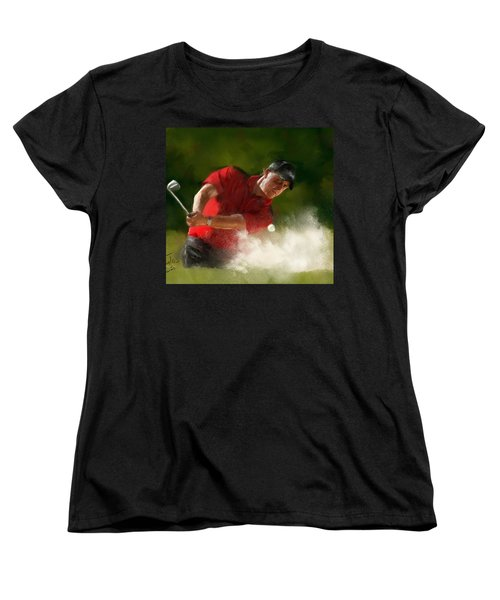 Phil Mickelson - Lefty In Action Women's T-Shirt (Standard Cut) by Colleen Taylor