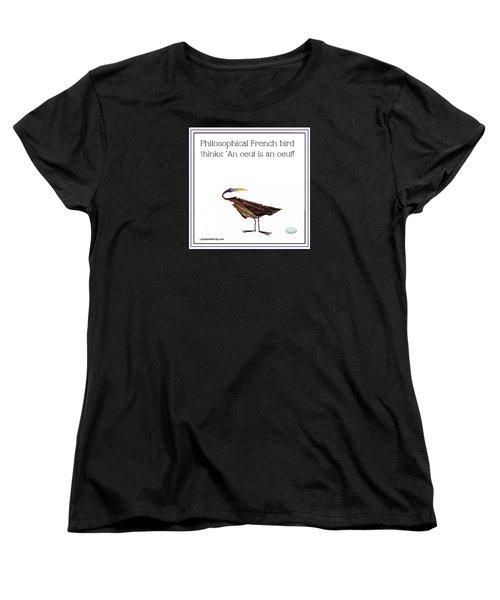 Women's T-Shirt (Standard Cut) featuring the digital art Philosophical Bird by Graham Harrop
