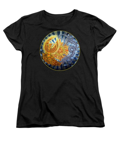 Phoenix And Dragon Women's T-Shirt (Standard Cut) by Rebecca Wang