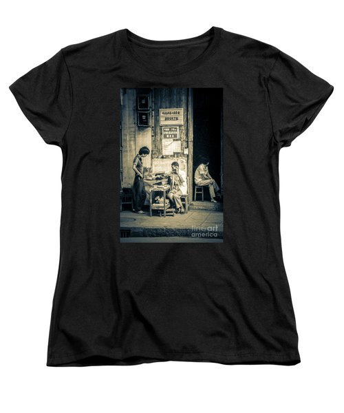 Women's T-Shirt (Standard Cut) featuring the photograph Phonecall On Chinese Street by Heiko Koehrer-Wagner
