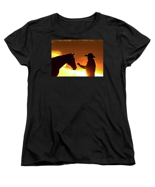 Cowgirl Sunset Sihouette Women's T-Shirt (Standard Fit)