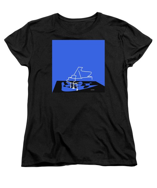 Women's T-Shirt (Standard Cut) featuring the digital art Piano In Blue by Jazz DaBri