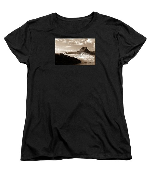 Women's T-Shirt (Standard Cut) featuring the painting Piha New Zealand Waves by Yurix Sardinelly