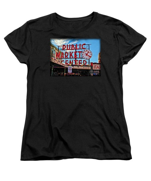 Pike Place Market Women's T-Shirt (Standard Cut) by Joan  Minchak