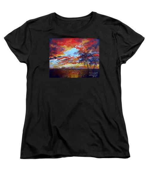 Women's T-Shirt (Standard Cut) featuring the painting Pine Island Sunset by Lou Ann Bagnall