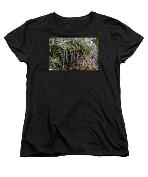 Women's T-Shirt (Standard Cut) featuring the photograph Pine Needlecicles by Barbara Bowen