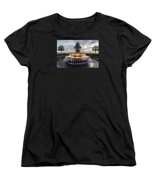 Pineapple Fountain Charleston Sc Women's T-Shirt (Standard Cut) by John McGraw