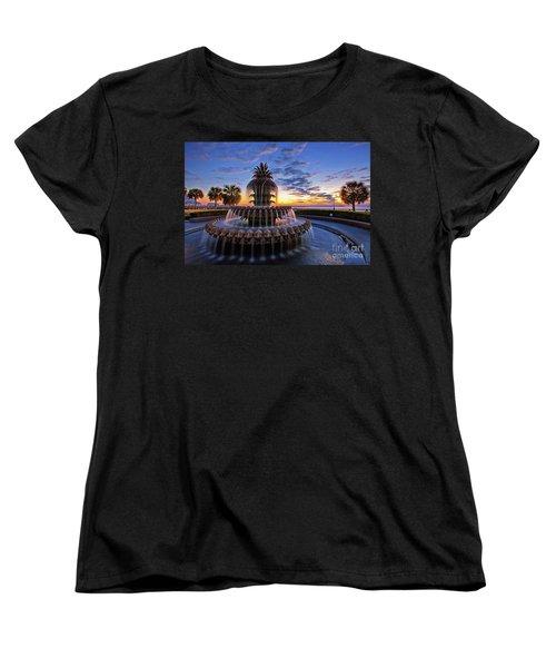 The Pineapple Fountain At Sunrise In Charleston, South Carolina, Usa Women's T-Shirt (Standard Cut) by Sam Antonio Photography