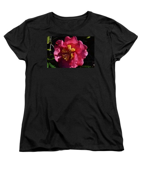Pink Camillia With Raindrops Women's T-Shirt (Standard Cut) by Warren Thompson