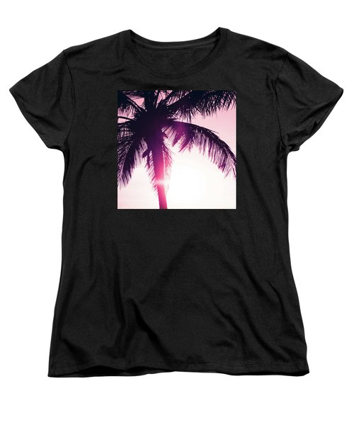 Women's T-Shirt (Standard Cut) featuring the photograph Pink Palm Tree Silhouettes Kihei Tropical Nights by Sharon Mau