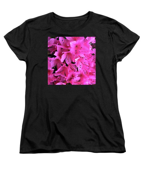 Women's T-Shirt (Standard Cut) featuring the photograph Pink Passion In The Rain by Sherry Hallemeier