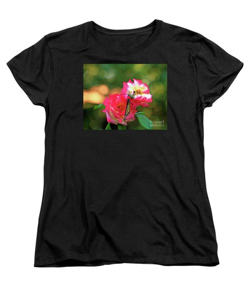 Pink Roses And Butterfly Photo Women's T-Shirt (Standard Cut) by Luana K Perez