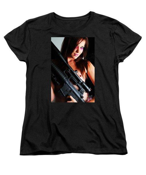 Pink Sniper Women's T-Shirt (Standard Cut) by Robert WK Clark