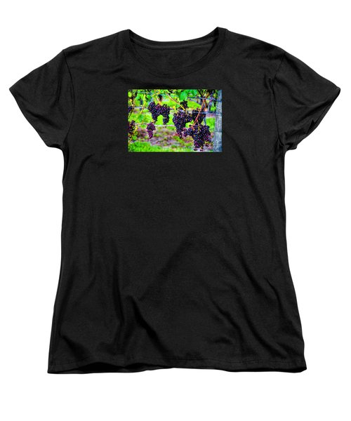 Women's T-Shirt (Standard Cut) featuring the photograph Pinot Noir Grapes by Rick Bragan