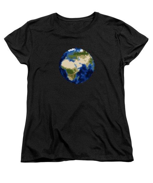 Pixel Earth Design Women's T-Shirt (Standard Cut) by Martin Capek