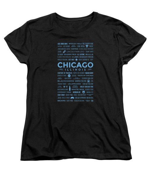 Places Of Chicago Blue On Black Women's T-Shirt (Standard Cut) by Christopher Arndt