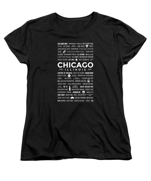 Places Of Chicago On Black Chalkboard Women's T-Shirt (Standard Cut) by Christopher Arndt