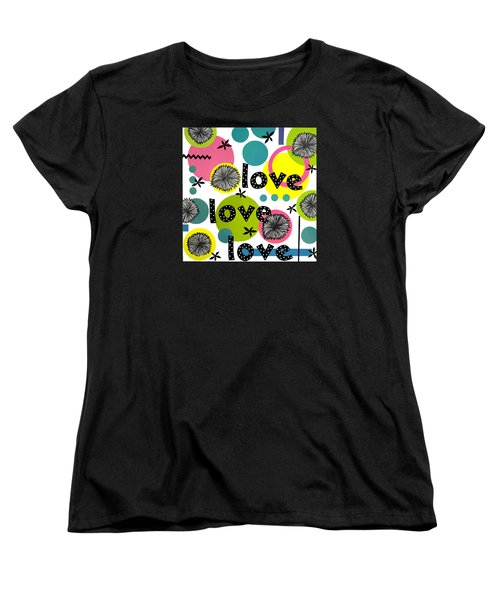 Women's T-Shirt (Standard Cut) featuring the mixed media Playful Love by Gloria Rothrock