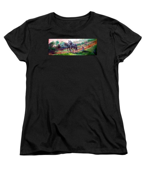 Women's T-Shirt (Standard Cut) featuring the painting Ploughing by Paul Weerasekera