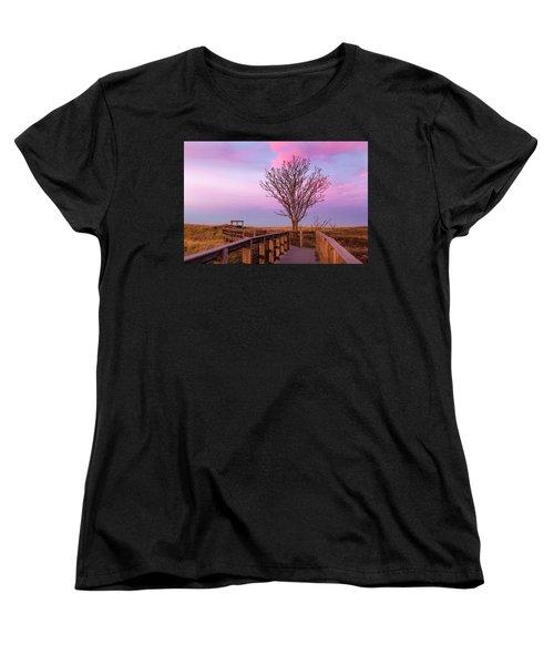 Plum Island Boardwalk With Tree Women's T-Shirt (Standard Cut) by Betty Denise
