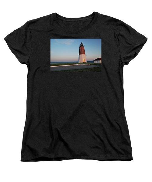 Point Judith Lighthouse Rhode Island Women's T-Shirt (Standard Cut) by Nancy De Flon