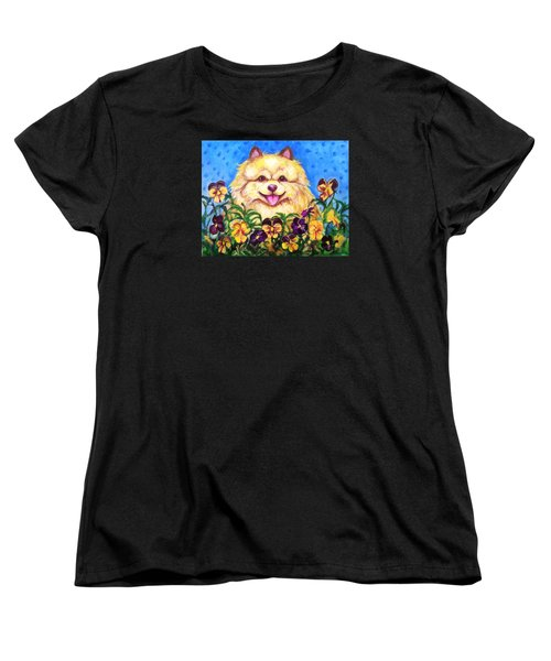 Women's T-Shirt (Standard Cut) featuring the painting Pomeranian With Pansies by Laura Aceto