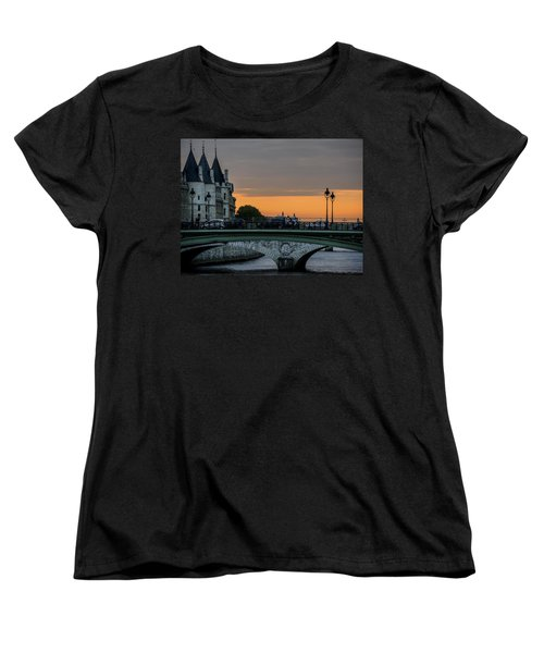 Pont Au Change Paris Sunset Women's T-Shirt (Standard Cut) by Sally Ross